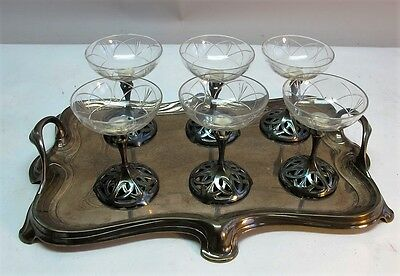Signed WMF German Art Nouveau Silverplate & Etched Glass Champagne Set  c. 1900