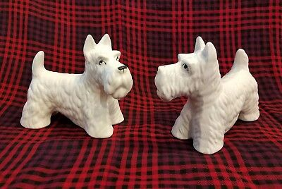 Westie White Scottie Scottish Terrier Pair Ceramic Vintage 1950s