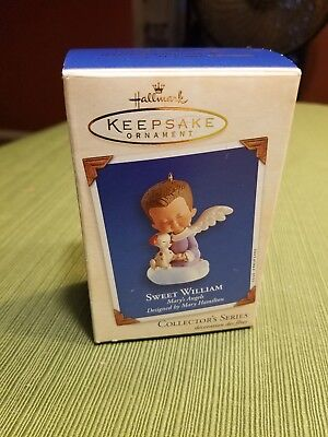 Hallmark Ornament 2003 Mary's Angels SWEET WILLIAM w/ Puppy! #16 in Series