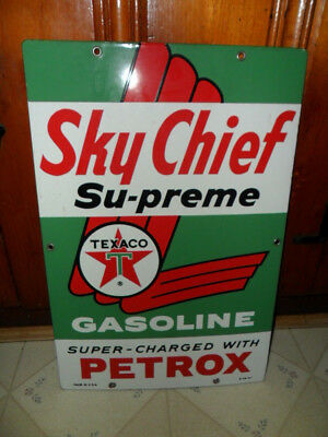 Original NOS UNUSED Texaco Porcelain Gas Pump Sign Sky Chief Su-preme Petrox