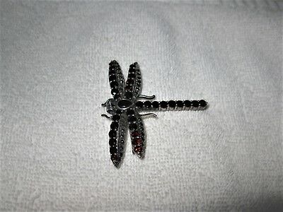 Vintage Stunning .925 QUALITY Sterling Silver Heavy Crystal Dragonfly Pin Brooch