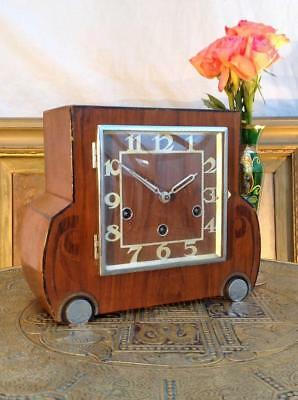 Vintage Art Deco German Mantle Chiming Clock Classic Deco Features 1920's Chic