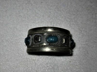 Vintage Antique Stunning Native American Style Tribal Cuff missing 1 stone 1.25""