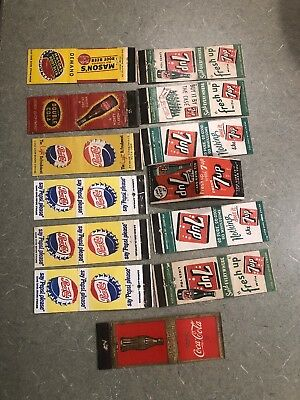 13 Seven Up Coca-Cola Pepsi Cola Match Books