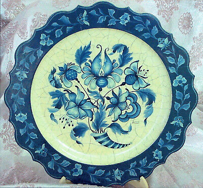 "Luanne Wykes tole painting pattern ""Blue Plate with Jacobean Flowers"""