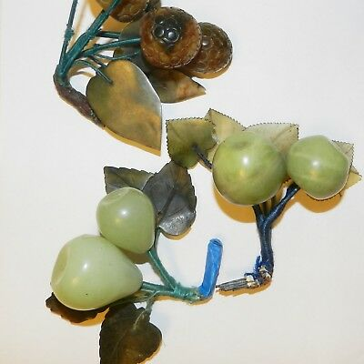 Vintage Chinese carved Jade Soapstone Fruits Lychee Plums Lot Damaged