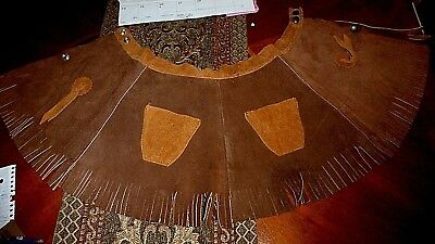 Heavy Vintage Girl's Brown Leather Western Cowgirl Fringe Skirt Small