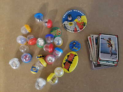 Vintage 1966 Batman Trading Cards And Buttons Bat Girl Joker Wonder Woman Flash
