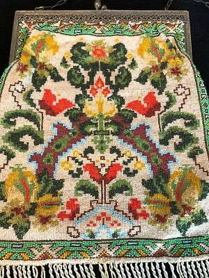 Antique Glass Micro Beaded Persian rug design Purse Gorgeous bright colors