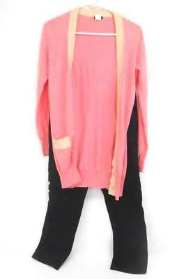 Lot Of 2 Women's Business Casual Outfit Pink Cardigan J Crew Black Pants Trouser