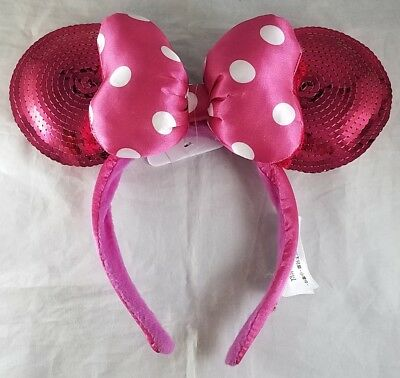 Disney Parks Minnie Mouse Ears Pink Headband Polka Dot Bow Hat Sequin - NEW