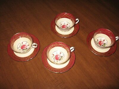 Royal Swansea 4 cups & Saucers Swansea Rose Made in England R139