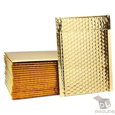 250 #0 Glamour Metallic Gold Poly Bubble Mailers Envelopes Bags 6x10 DVD Wide CD