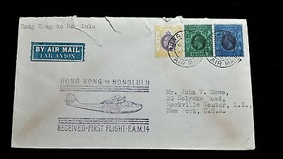 1937 First Flight Cover from Hong Kong To Honolulu