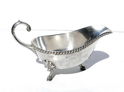 Antique Silverplate Sauce or Gravy Boat Three Legged Gadroon Rim ~12 oz Capacity
