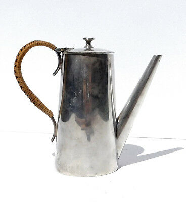 Vtg Silverplate Single Serving Tea Coffee Pot ~ Sauce Syrup Pitcher Woven Handle