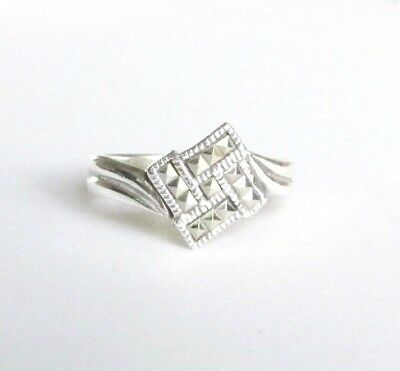 Art Deco style solid silver marcasite gemstone ring size R 1/2