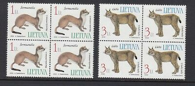 LITHUANIA 2002 ANIMALS blocks of 4, Mint Never Hinged