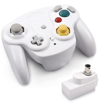 White Wireless Gamecube Controller With Adapter Wavebird for Classic Wii GC NGC