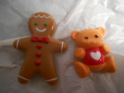 2 Vintage Avon Pins Gingerbread man & teddy bear