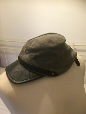 Genuine Suede Grey Military Style Hat Cap