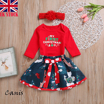 Baby Girl Xmas Clothes Outfits My First Christmas Romper TUTU Skirts 3PCS Set UK