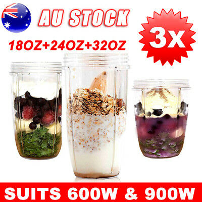 3PCS NUTRIBULLET COLOSSAL BIG CUP 18/24/32OZ- SUITS All 600/900W Nutri Bullet