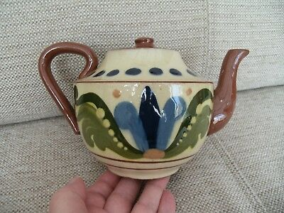 Lovely Old Torquay Ware Little Teapot 'jist A Wee Drappie Tea' Possibly Aller V.