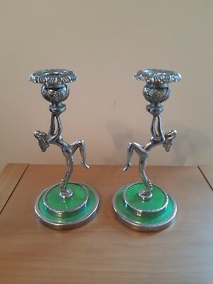 Pair Of Art Deco Nude Lady Chrome Candlesticks