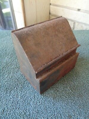 cool rusty old metal wall hanging small hinged metal box farm barn find