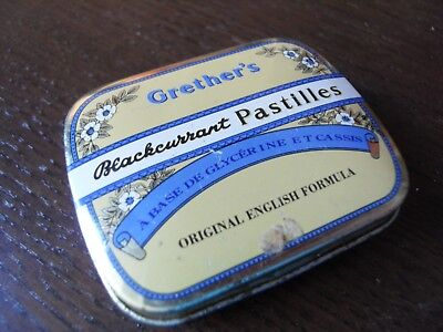 Alte Metalldose Arznei Grether´s Blackcurrant Pastilles