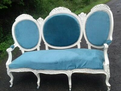 Stunning Original French Antique Grand 19Thc Chaise Longue Sofa Settee Seat