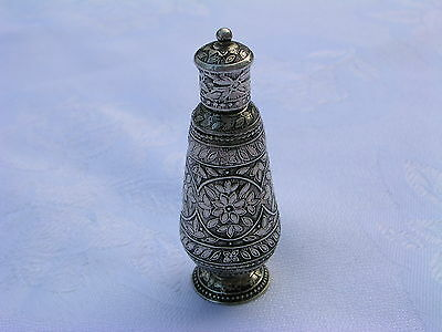 Antique India Middle East Silver Snuff Bottle