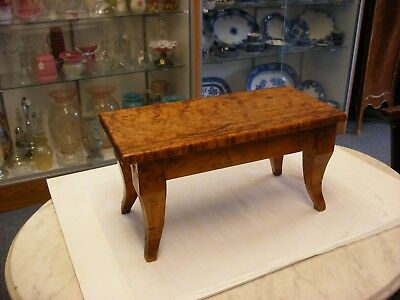 Antique Primitive Furniture - Biedermeier Style Stool Footstool Birdseye Maple