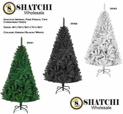 BUSHY FULL THICK Green/Black/White Christmas Tree 4FT-8FT Xmas Decor Decorations