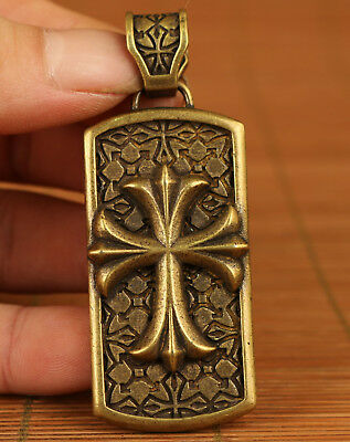 Blessing Chinese Old Bronze Hand Carved Cross Statue Pendant