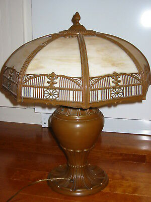 "Antique Vintage Slag Lamp Works 22"" High Art Nouveau Arts & Crafts 3 Bulbs"