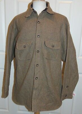 8eec760dfa7 Nwt Johnson Woolen Mills Brown Wool flannel Lined Heavy Shirt Xl Made In  Usa New