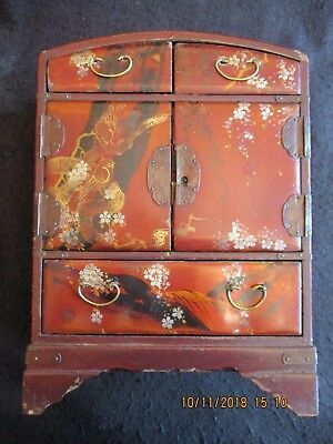 ANTIQUE ORIENTAL RED/GOLD LACQUER JEWELLERY FIVE DRAWER CABINET CHEST c.1930's