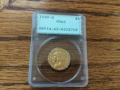 1909-D Indian Head $5 Half Eagle Gold Coin Pcgs Ms62