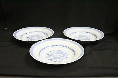 3 Chinese Porcelain Rice Pattern Fire Breathing Dragon Bats Bowls Signed