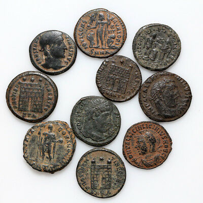 Lot Of 10 Roman Imperial Bronze Follis And Antoninianus Ae Coins