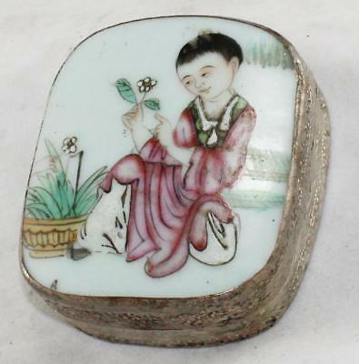 "Vntg/Antique-Asian PorcelainLidded Metal Box-Transfer & Hand Painted-3"" x 2 5/8"""