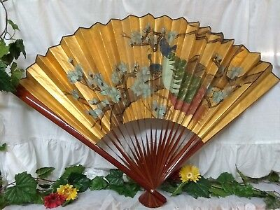 """Vintage Large Hand Painted Bamboo Chinese Wall Fan 54"""" X 30"""""""
