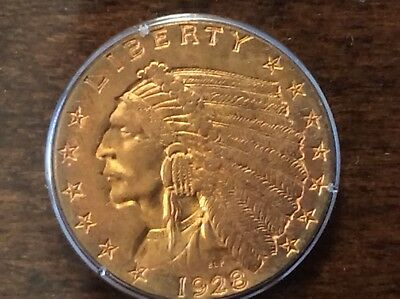 1928 Indian Head Quarter Eagle Gold Coin MS62