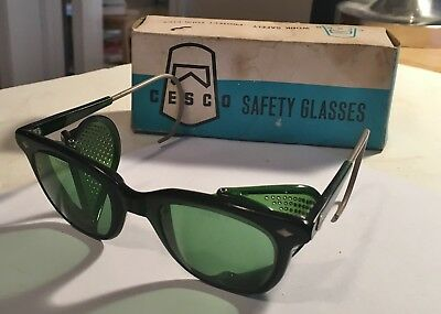1960's CESCO Anti Glare Safety Glasses Green Lenses With Box No.6C#2 Beauties!