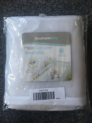 Breathable Baby White Mesh Cot Bumper - Excellent Condition