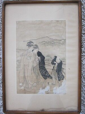 Antique Japanese woodblock print Utagawa Toyokuni I 'Procession of Women' 1800