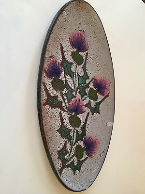 Vintage French Ceramic Vallauris Fat Lava Thistle Oval Platter Plate Fat Lava