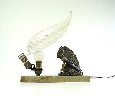 Very Rare Art Deco Indian Chief Native Metal Cast Table Lamp By Ezan Antique